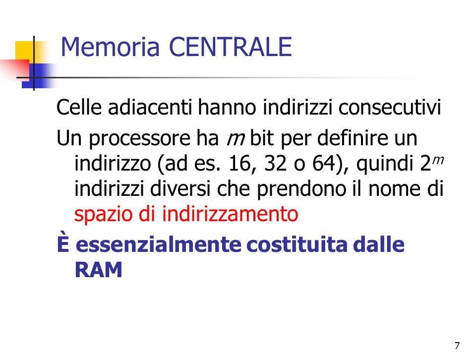 Memoria CENTRALE Celle adiacenti hanno indirizzi consecutivi