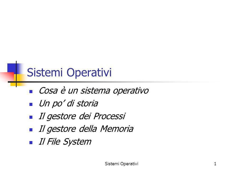 Sistemi Operativi Cosa è un sistema operativo Un po' di storia