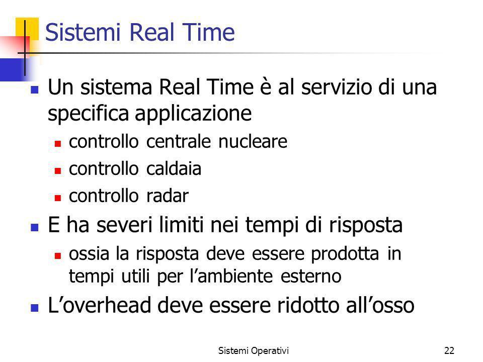 Sistemi Real Time Un sistema Real Time è al servizio di una specifica applicazione. controllo centrale nucleare.