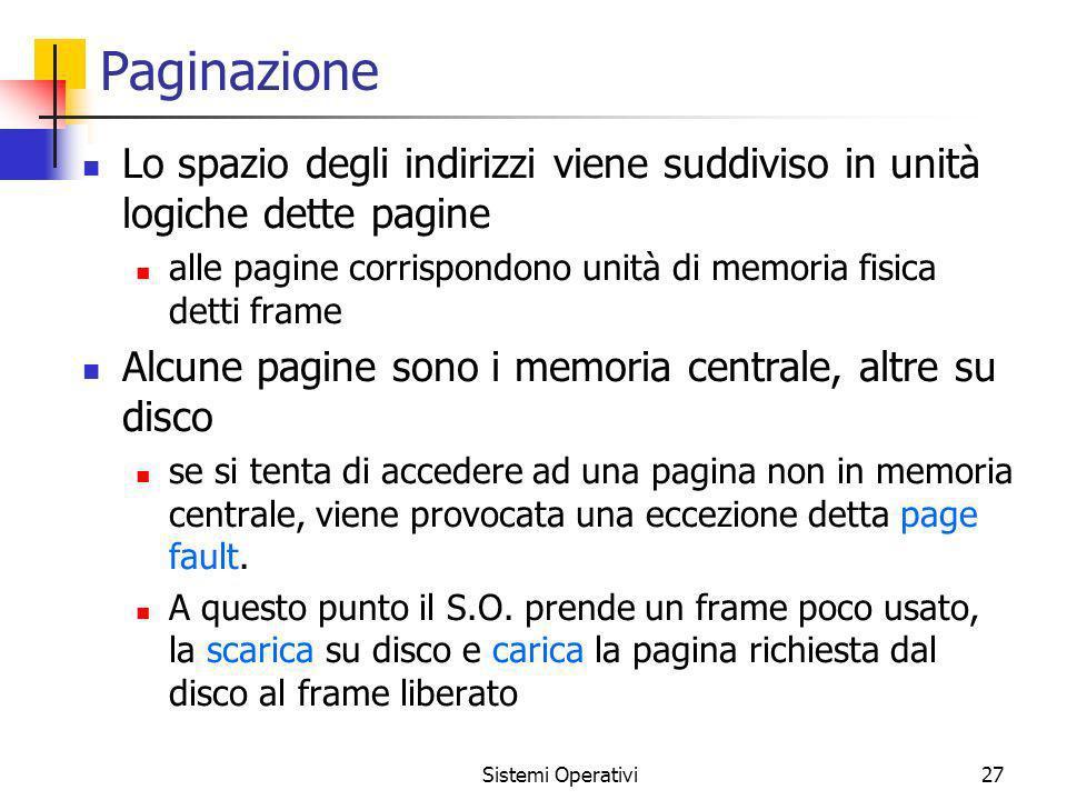 Paginazione Lo spazio degli indirizzi viene suddiviso in unità logiche dette pagine. alle pagine corrispondono unità di memoria fisica detti frame.