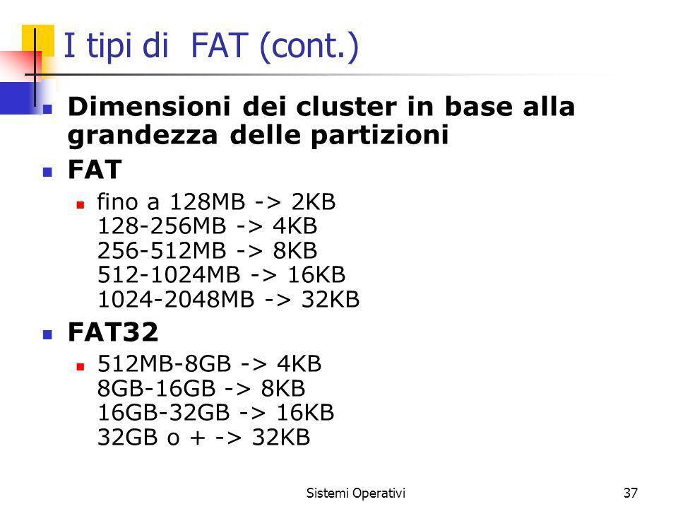 I tipi di FAT (cont.) Dimensioni dei cluster in base alla grandezza delle partizioni FAT.