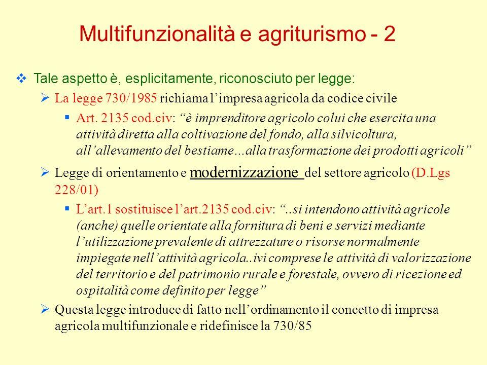 Multifunzionalità e agriturismo - 2