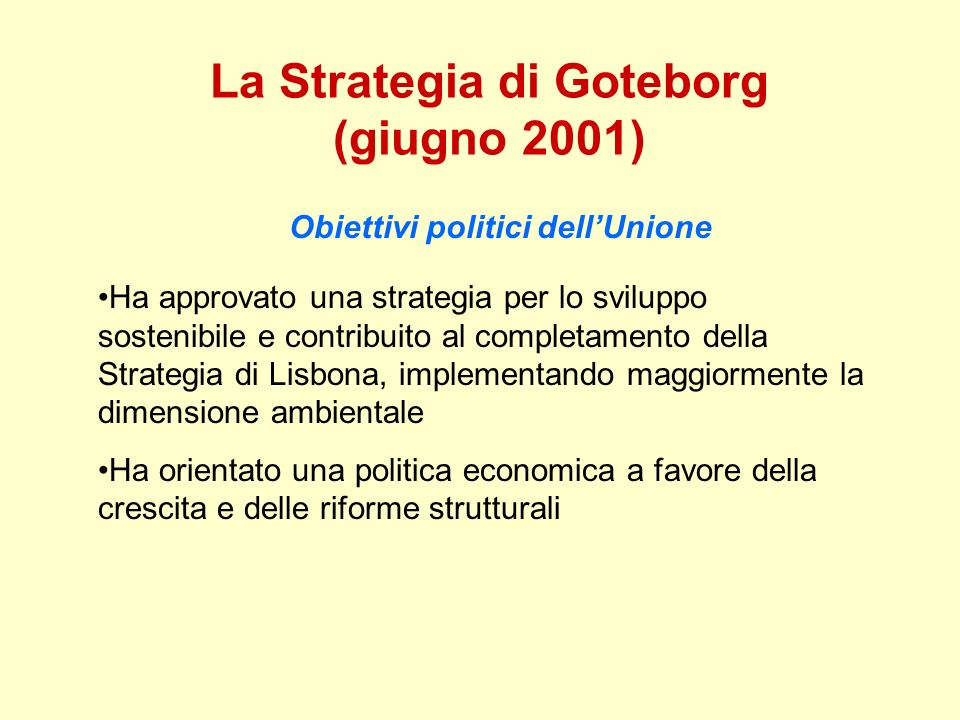 La Strategia di Goteborg (giugno 2001)