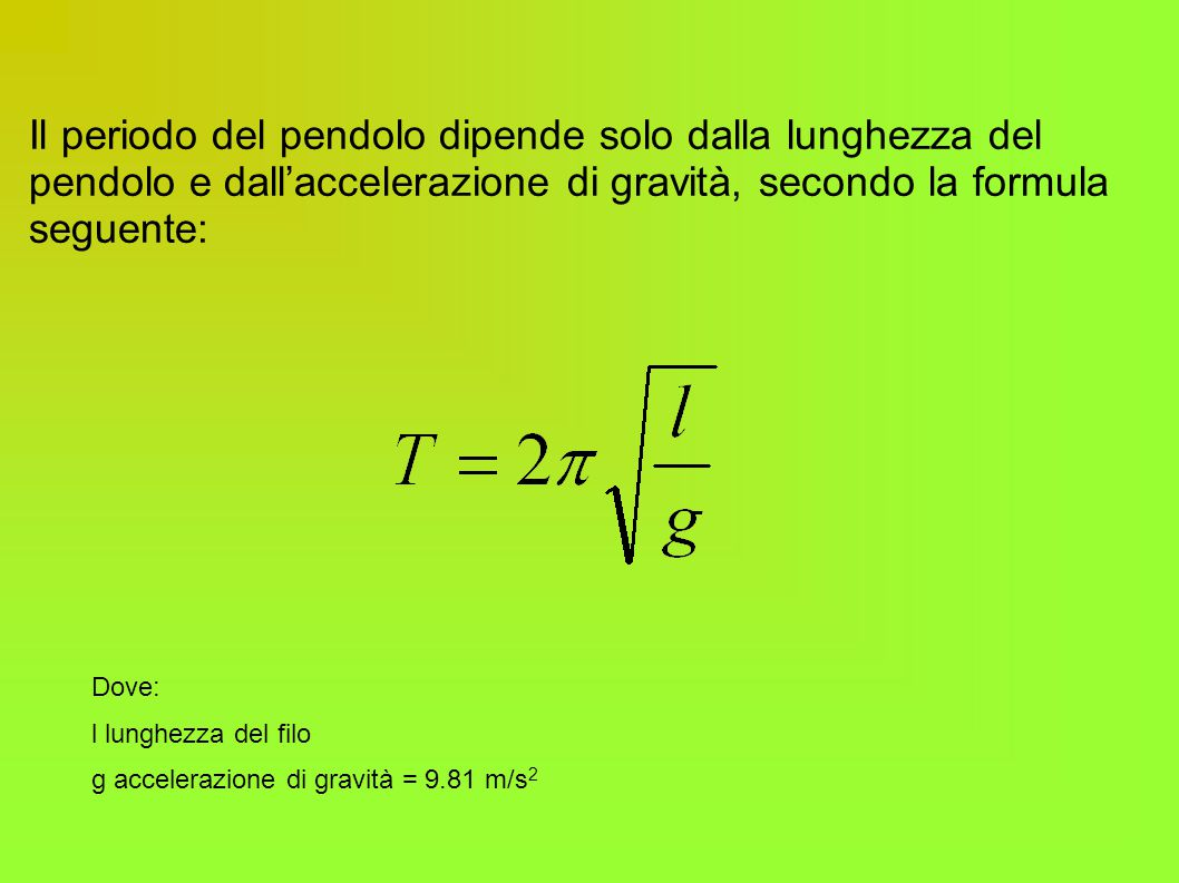 Il periodo del pendolo dipende solo dalla lunghezza del pendolo e dall'accelerazione di gravità, secondo la formula seguente: