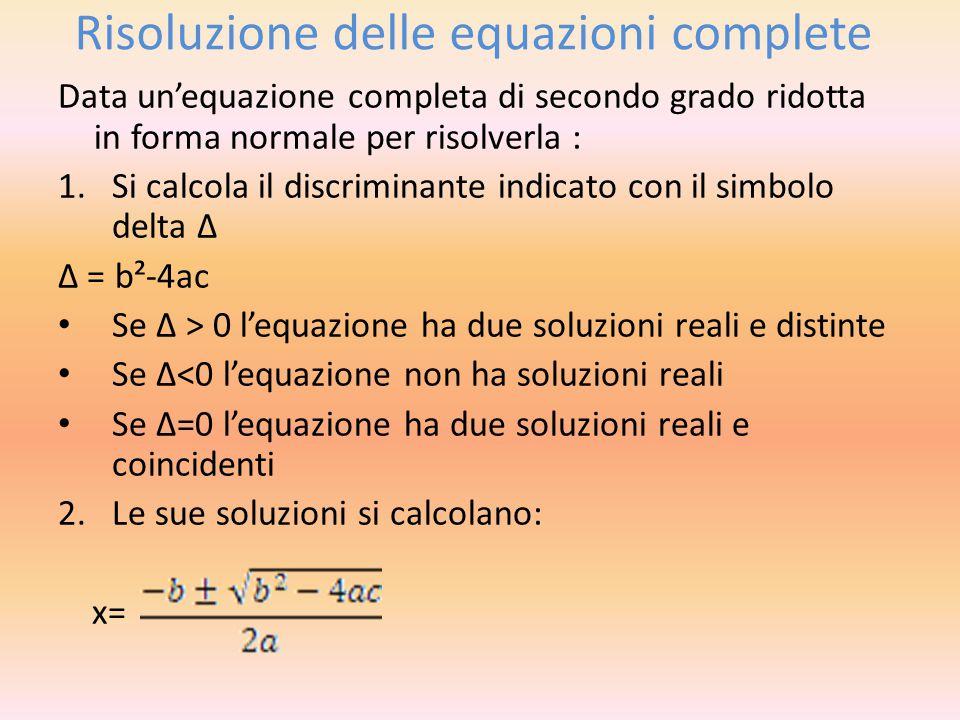 Risoluzione delle equazioni complete