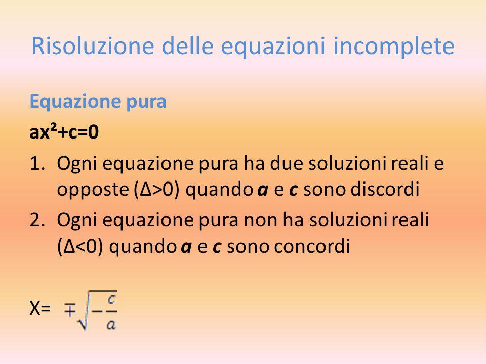 Risoluzione delle equazioni incomplete