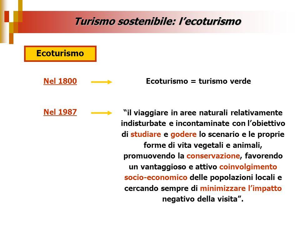 Turismo sostenibile: l'ecoturismo Ecoturismo = turismo verde