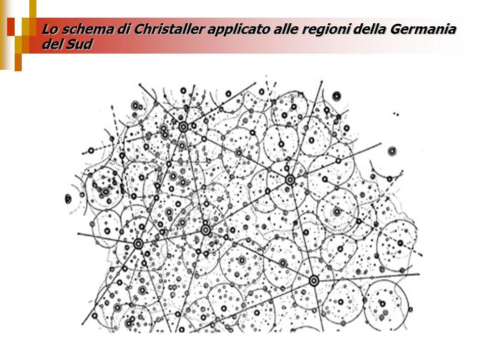 Lo schema di Christaller applicato alle regioni della Germania del Sud