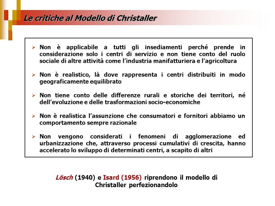Le critiche al Modello di Christaller