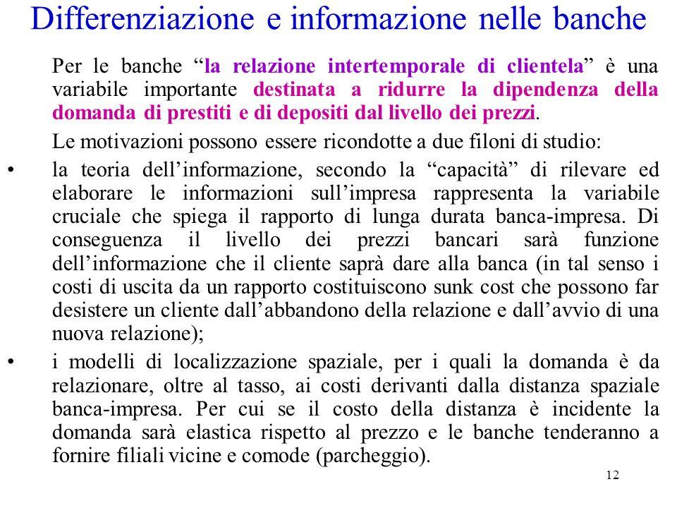 Differenziazione e informazione nelle banche