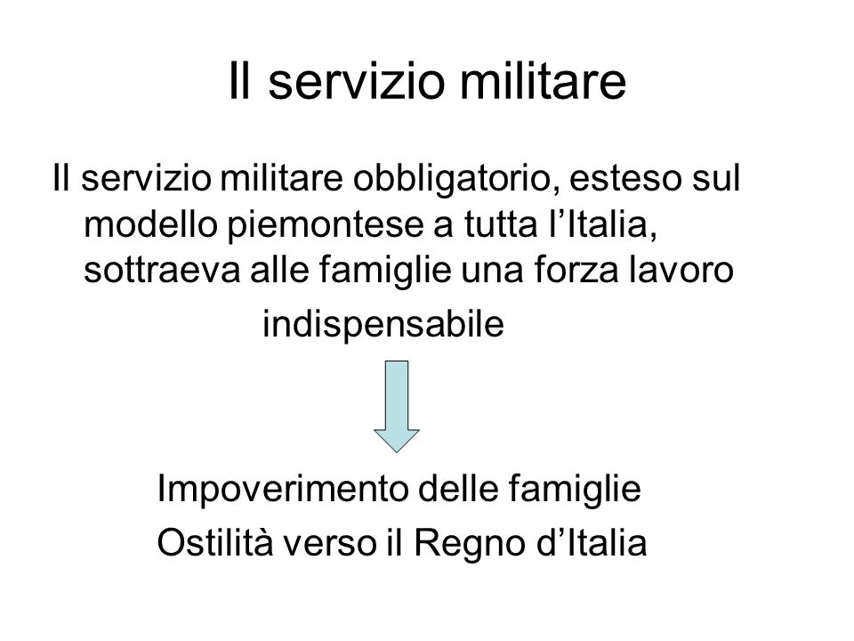Il servizio militare Il servizio militare obbligatorio, esteso sul modello piemontese a tutta l'Italia, sottraeva alle famiglie una forza lavoro.