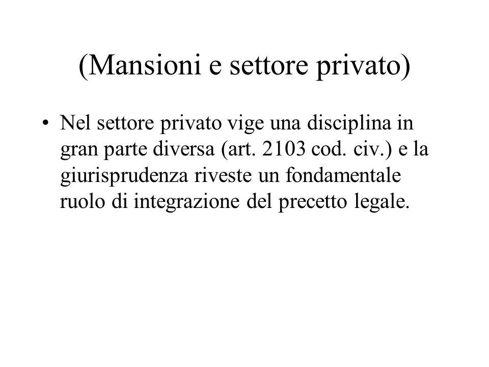 (Mansioni e settore privato)