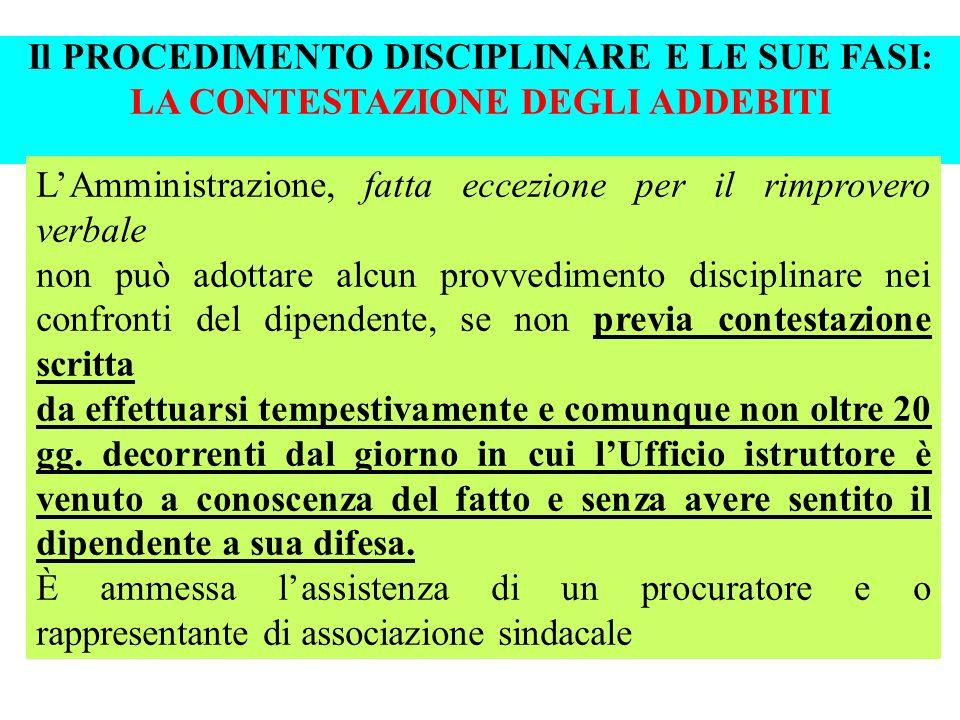 Il PROCEDIMENTO DISCIPLINARE E LE SUE FASI: LA CONTESTAZIONE DEGLI ADDEBITI
