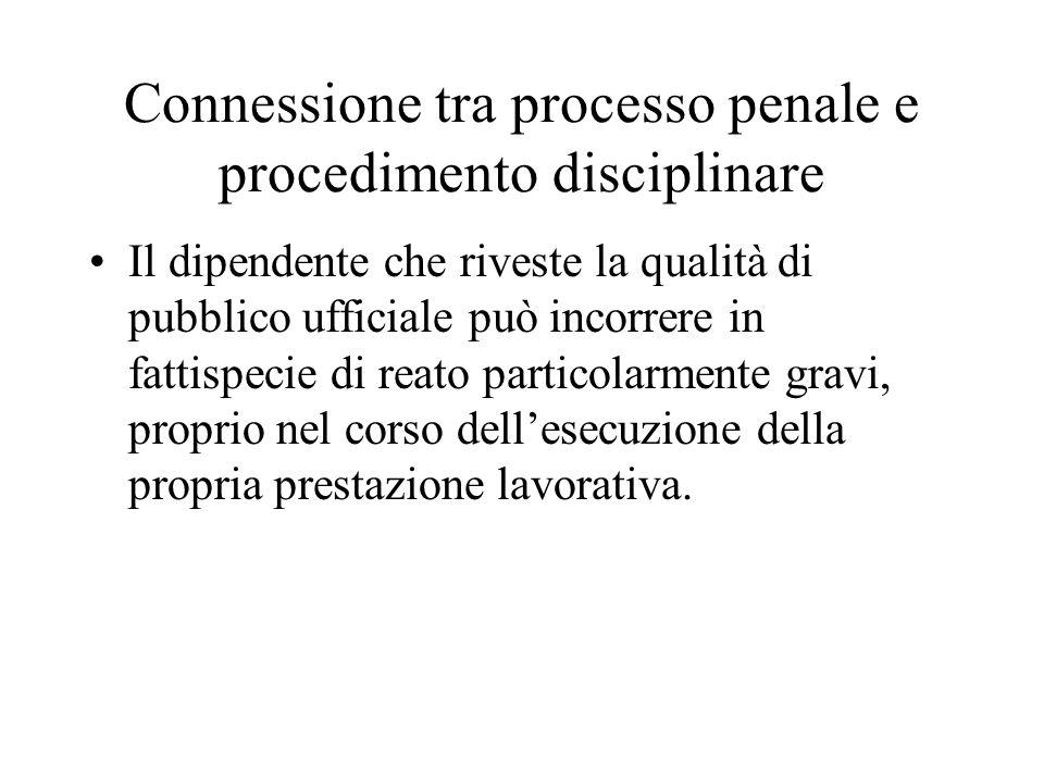Connessione tra processo penale e procedimento disciplinare