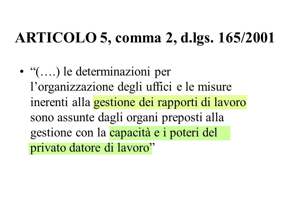 ARTICOLO 5, comma 2, d.lgs. 165/2001