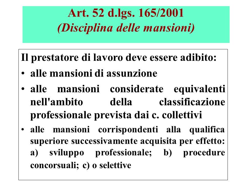Art. 52 d.lgs. 165/2001 (Disciplina delle mansioni)