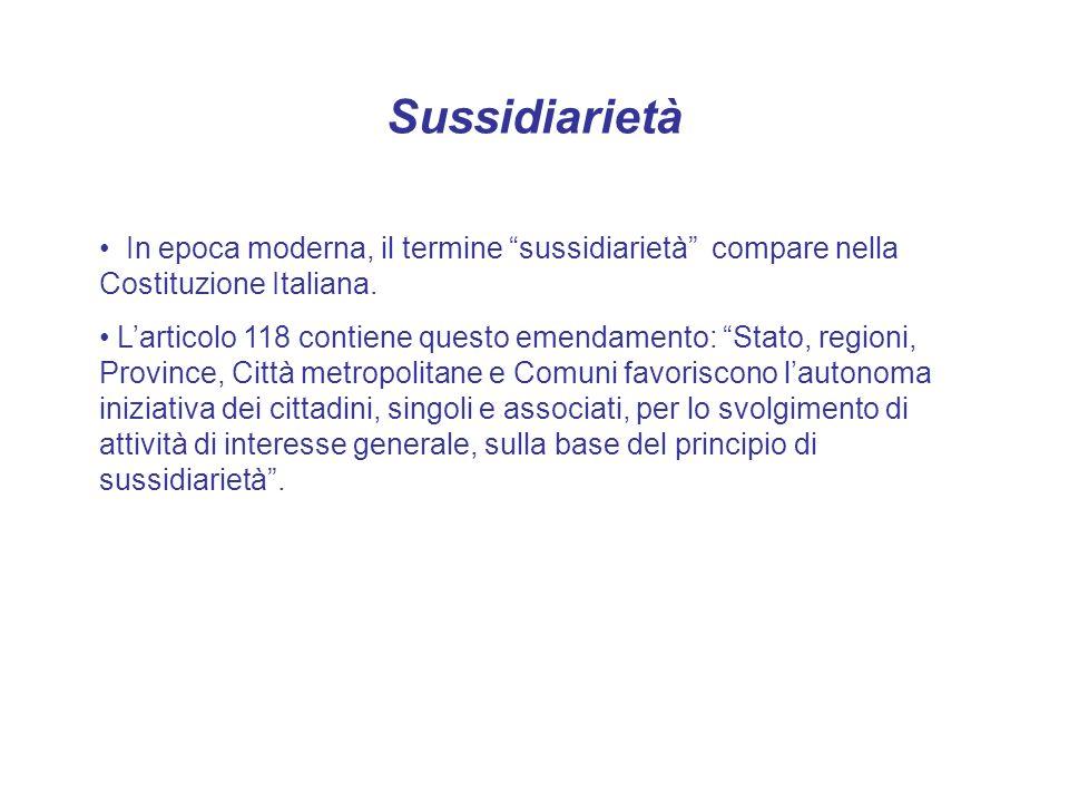 Sussidiarietà In epoca moderna, il termine sussidiarietà compare nella Costituzione Italiana.