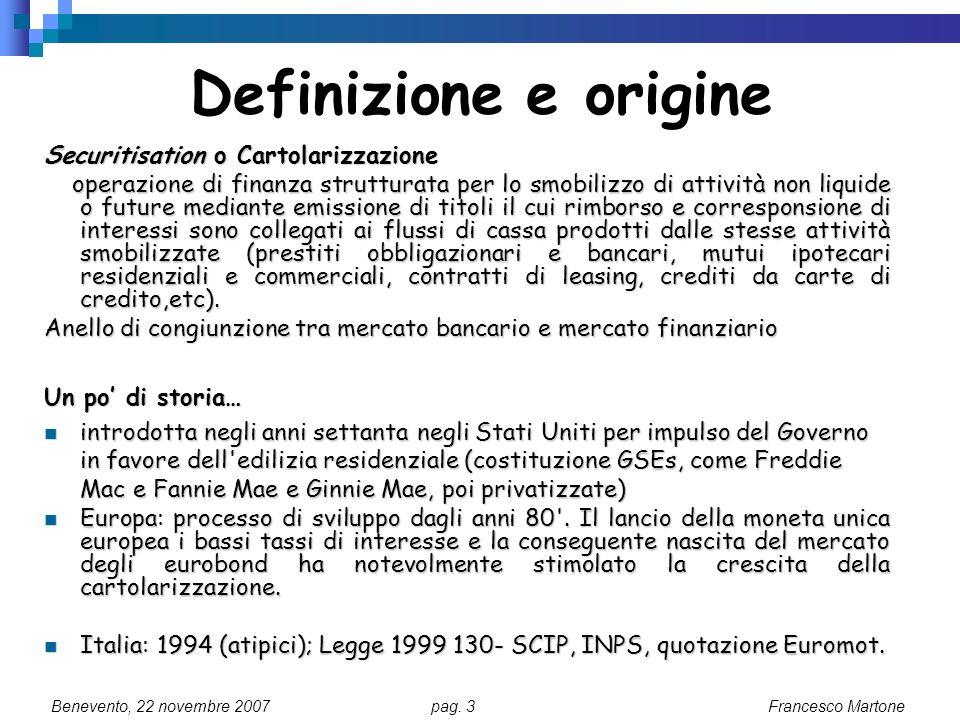 Definizione e origine Securitisation o Cartolarizzazione
