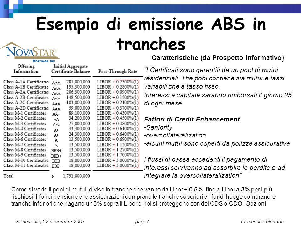 Esempio di emissione ABS in tranches