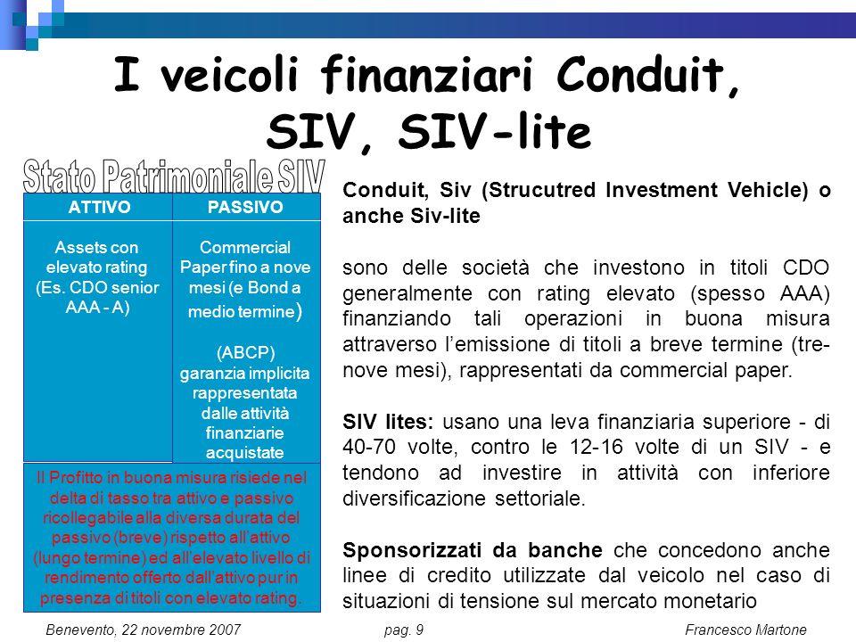 I veicoli finanziari Conduit, SIV, SIV-lite