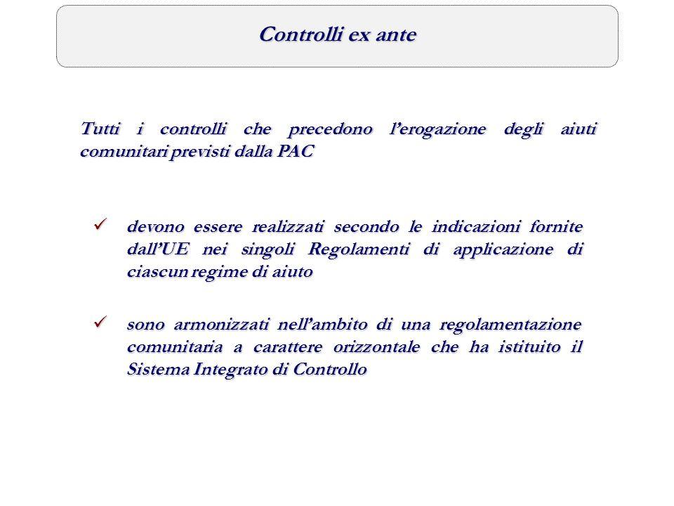 Controlli ex ante Tutti i controlli che precedono l'erogazione degli aiuti comunitari previsti dalla PAC.
