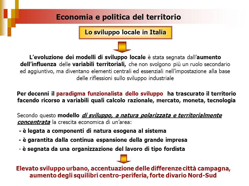 Economia e politica del territorio Lo sviluppo locale in Italia