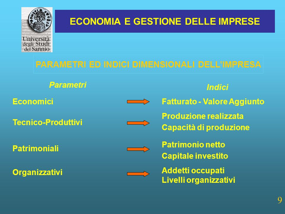 PARAMETRI ED INDICI DIMENSIONALI DELL'IMPRESA