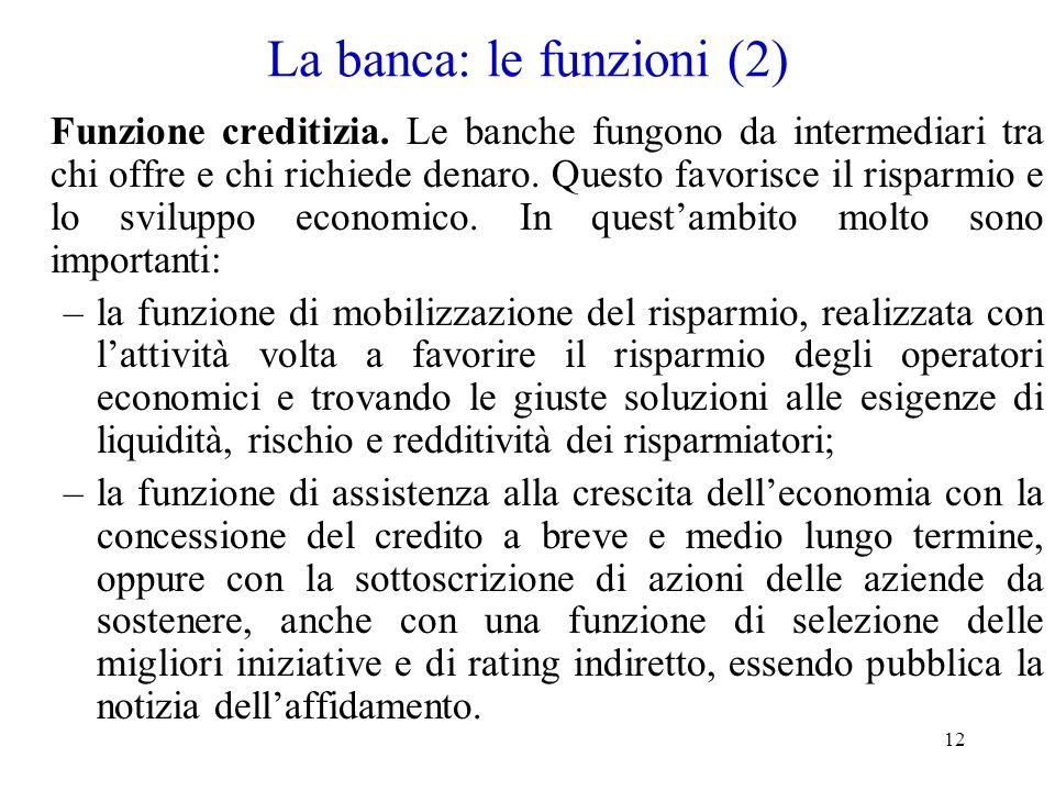 La banca: le funzioni (2)