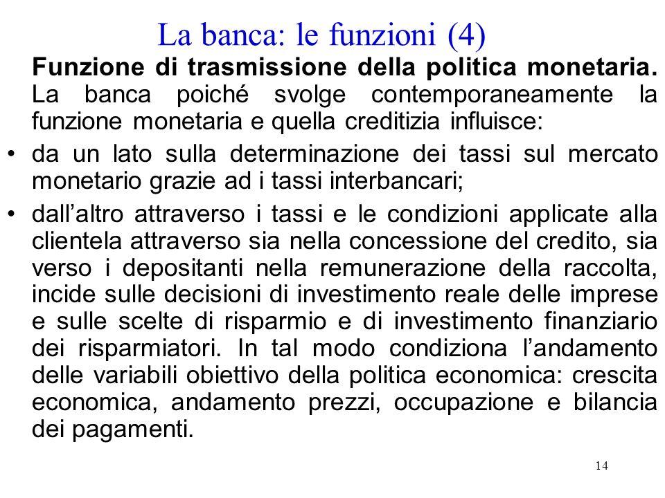 La banca: le funzioni (4)