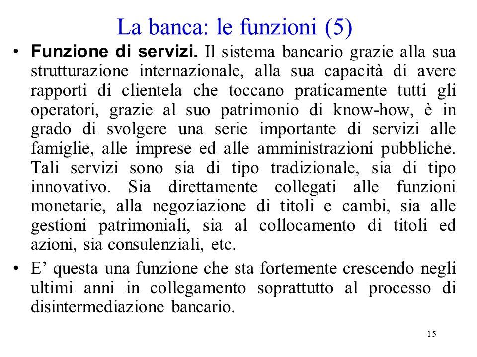 La banca: le funzioni (5)