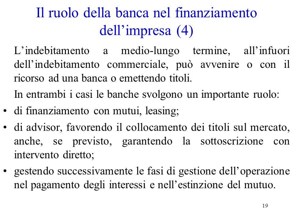 Il ruolo della banca nel finanziamento dell'impresa (4)