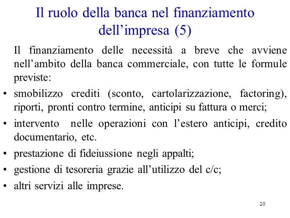 Il ruolo della banca nel finanziamento dell'impresa (5)