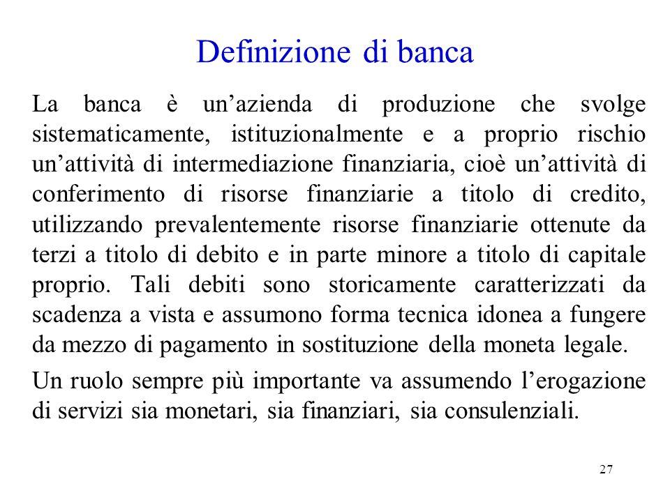 Definizione di banca
