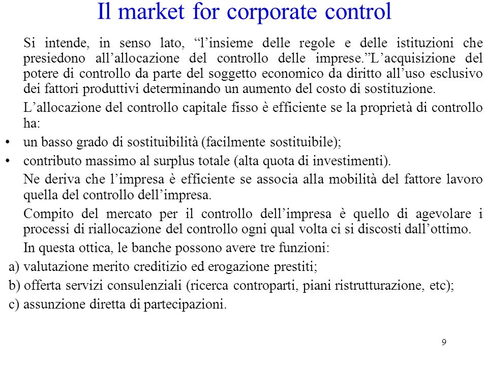 Il market for corporate control