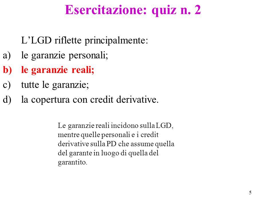 Esercitazione: quiz n. 2 L'LGD riflette principalmente: