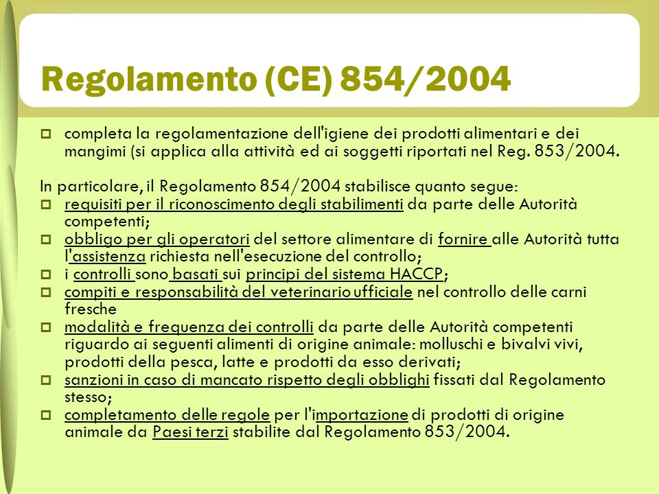 Regolamento (CE) 854/2004