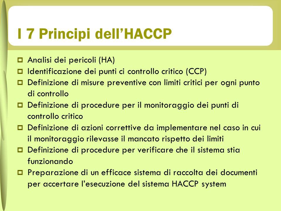 I 7 Principi dell'HACCP Analisi dei pericoli (HA)