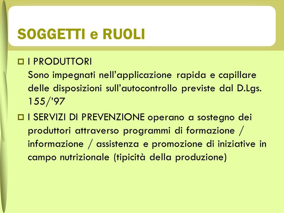 SOGGETTI e RUOLI I PRODUTTORI Sono impegnati nell'applicazione rapida e capillare delle disposizioni sull'autocontrollo previste dal D.Lgs. 155/'97.