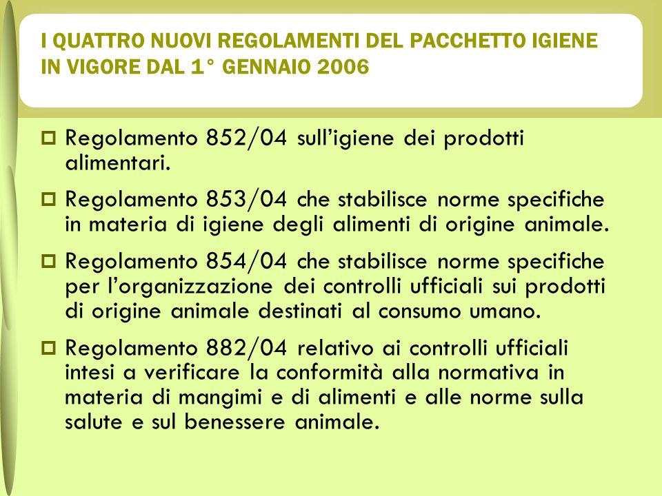 Regolamento 852/04 sull'igiene dei prodotti alimentari.