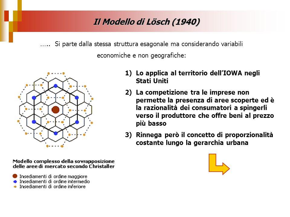 Il Modello di Lösch (1940)….. Si parte dalla stessa struttura esagonale ma considerando variabili economiche e non geografiche: