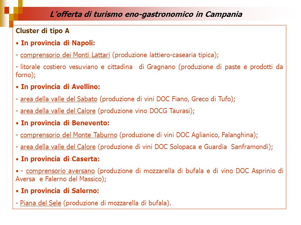 L'offerta di turismo eno-gastronomico in Campania