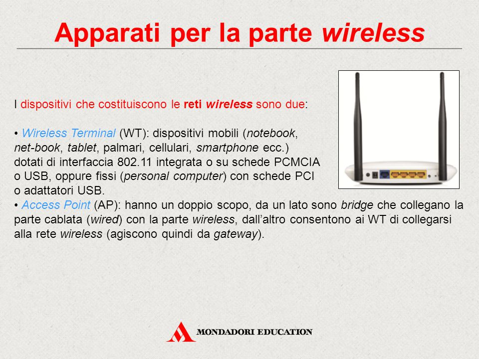 Apparati per la parte wireless