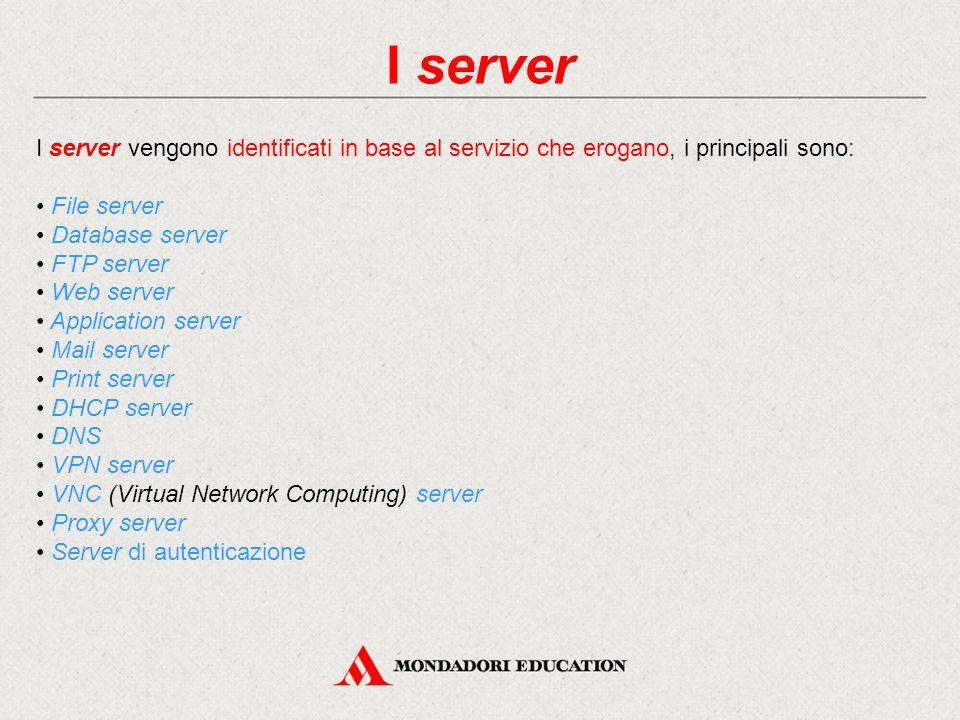 I server I server vengono identificati in base al servizio che erogano, i principali sono: • File server.