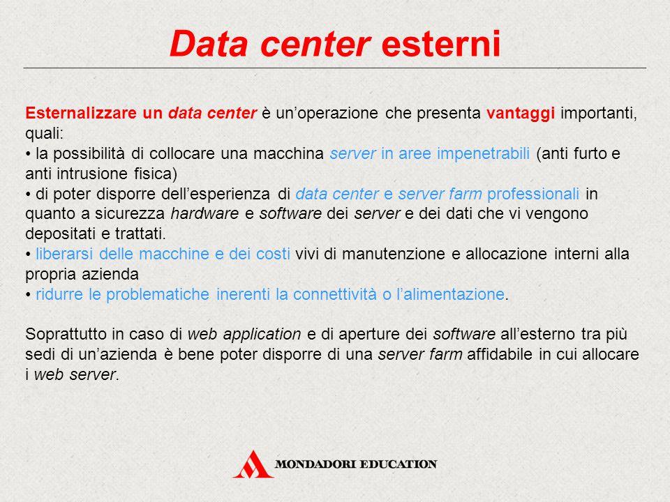 Data center esterni Esternalizzare un data center è un'operazione che presenta vantaggi importanti, quali: