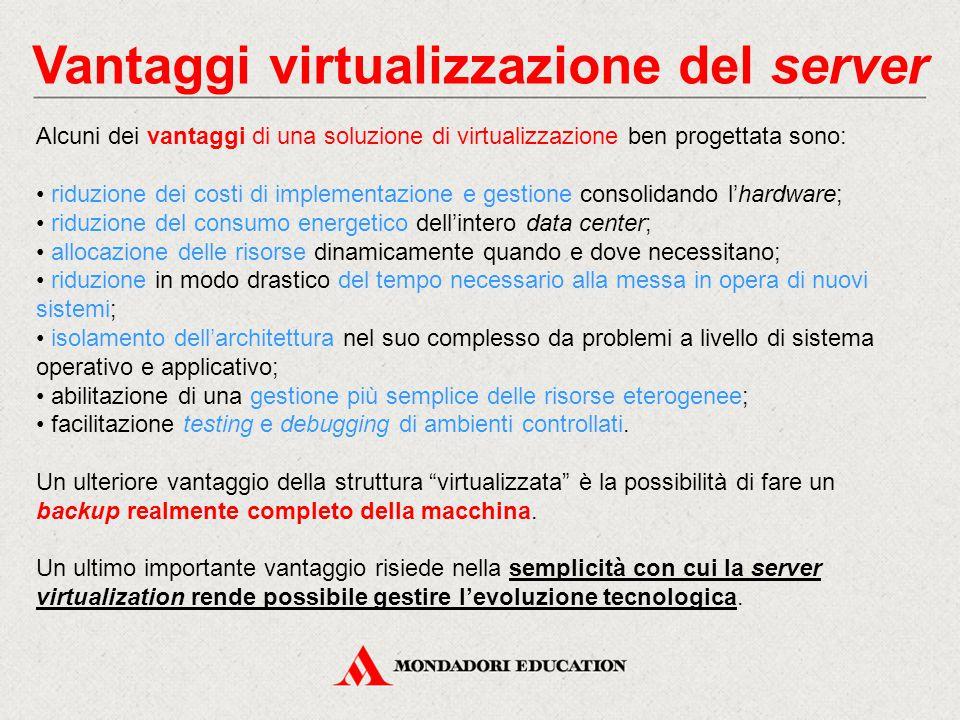 Vantaggi virtualizzazione del server