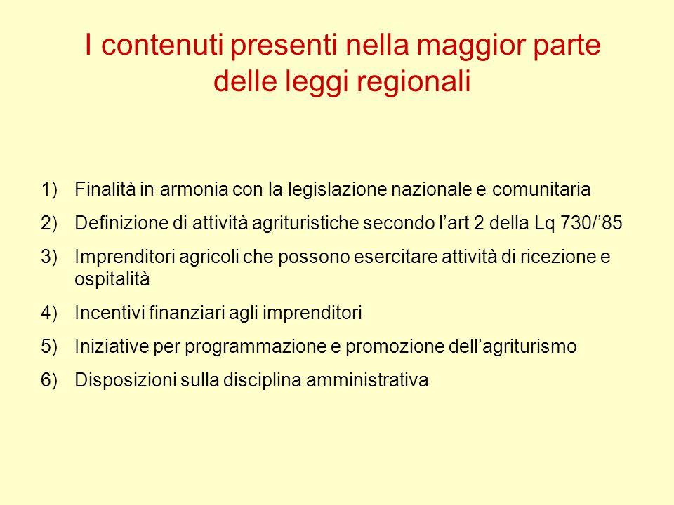 I contenuti presenti nella maggior parte delle leggi regionali