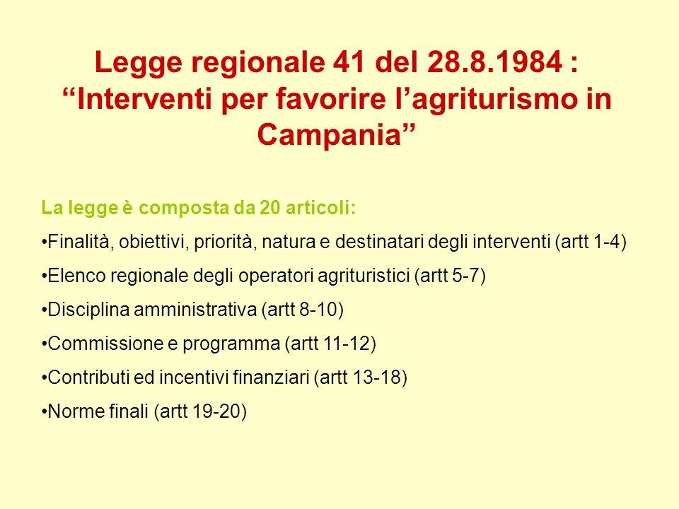 Legge regionale 41 del 28.8.1984 : Interventi per favorire l'agriturismo in Campania