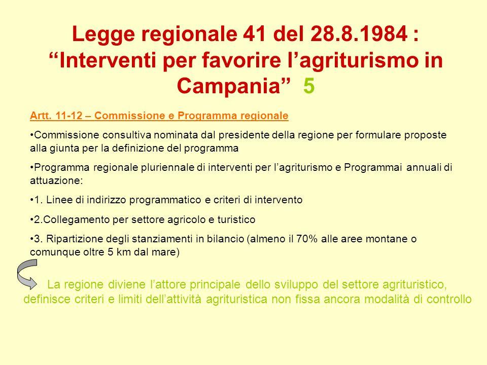 Legge regionale 41 del 28.8.1984 : Interventi per favorire l'agriturismo in Campania 5