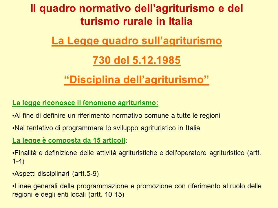 Il quadro normativo dell'agriturismo e del turismo rurale in Italia