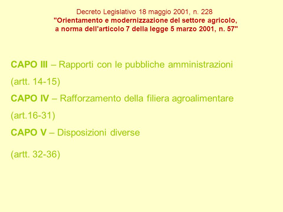 CAPO III – Rapporti con le pubbliche amministrazioni (artt. 14-15)